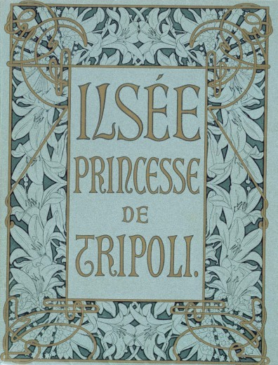 oldroze:  Alphonse Mucha, Ilsée, Princesse de Tripoli (1897)   Based on Edmond Rostand's La Princesse Lointaine, written for Sarah Bernhardt in 1895, L'Ilsée, Princesse de Tripoli was commissioned from the author Robert de Flers by the Parisian publisher Henri Piazza. By the time De Flers had completed his manuscript, Mucha had only three months to prepare 134 coloured lithographs before the edition was due to go to print. Mucha later wrote of the experience: 'We worked on four stones simultaneously. I did some of the drawings straight onto the stone. Other things, particularly the decorative edgings, I drew on tracing paper which was then passed on to the draughtsmen who continued the work with the colours I specified. I hardly had time to sketch out the motif for an ornament when they came and took it from my hands and got down to work on it.' Ilsée was given an enthusiastic reception by the critics. Czech and German editions were later published in 1901 in Prague by B. Koci.