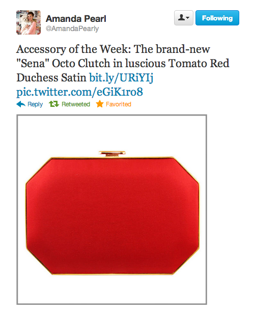 """LOVE IT! Amanda Pearl named a clutch after me, the """"Sena"""" Octo Clutch in the most perfect shade of tomato red to match all of my crimson hued MAC lipsticks from Ruby Woo, Lady Danger to Runway Red. Look how lush that Duchess Satin is in such a chic..."""