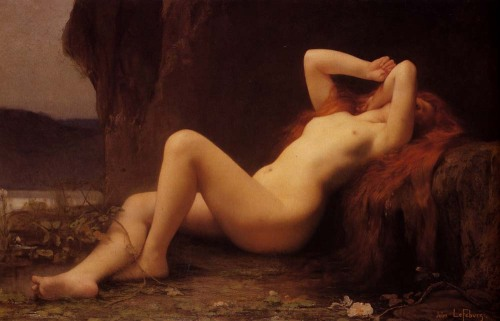 "books0977:  Mary Magdalene In The Cave (Maria Magdalena in der Höhle), 1876. Jules Joseph Lefebvre (1836–1911). Oil on canvas. Hermitage. The French tradition of Saint Lazare of Bethany is that Mary, expelled by persecutions from the Holy Land, came to Marseille and converted the whole of Provence. Magdalene is said to have retired to a cave on a hill by Marseille, La Sainte-Baume (""holy cave."" baumo in Provençal), where she gave herself up to a life of penance for thirty years."