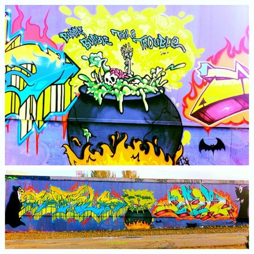 yegstreetart:  Happy #halloween #streetart pt.1 (pic) #graffiti  by #demer #curly #louden - #yegsa #yeg #art #edmonton #arts