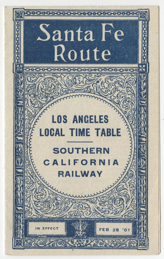 Los Angeles local time table, southern California railway, 1901