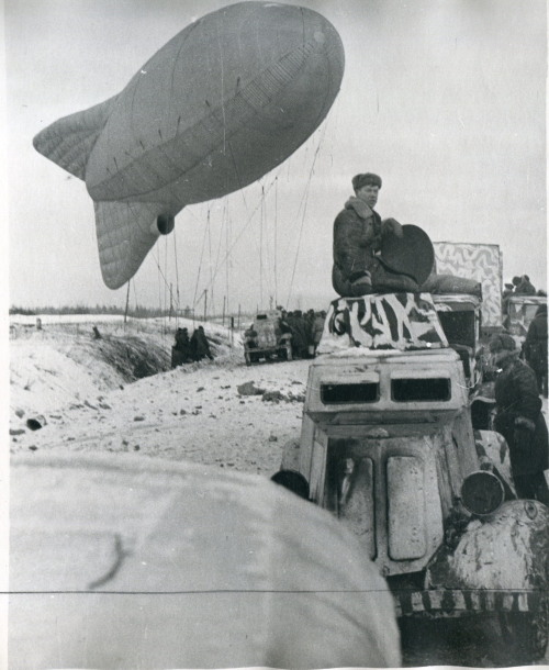 Soviet soldiers launch an observation balloon, Leningrad Front.