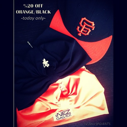 Code: SFGIANTSLOVE at online checkout!!! Today only*** www.inezgalvez.come #sale #sfgiants #turban #headwrap #style #fashion #black #orange #sillysappysale