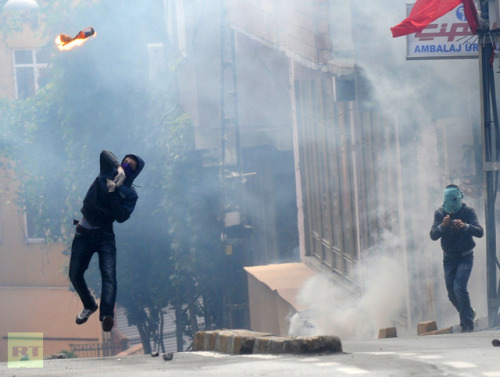Kurdish protesters clash with police in TurkeyOctober 31, 2012 Turkish police used tear gas and water cannons to disperse thousands of Kurdish protesters, who organized a rally in the southeastern city of Diyarbakir, demanding increased rights. Demonstrators threw firebombs and stones at the police which caused many local residents to barricade themselves in their homes, preventing their children from going to school. The rally began when thousands of angry Kurds marched to a prison in Diyarbakir in order to show their support for prisoners who went on hunger strike six weeks ago. They're demanding the right to use the Kurdish language in Turkey's education and legal systems, and an end to the solitary confinement of Abdullah Ocalan – the imprisoned leader of the Kurdish armed movement, the PKK. Ocalan was sentenced to death in 1999, though that was later commuted to life imprisonment following the abolition of the death penalty in Turkey in 2002. Most of the prisoners on strike are serving time for alleged links to the PKK, who are deemed terrorists by Turkey and its Western allies. Turkey's government has tried to reconcile with members of the Kurdish minority, which makes up nearly 30 percent of the country's population. However, activists who seek autonomy in the mostly Kurdish southeast say state concessions have not gone far enough. The PKK has waged an armed campaign in southeast Turkey for more than 25 years, fighting to create an ethnic homeland for the Kurdish people. Source