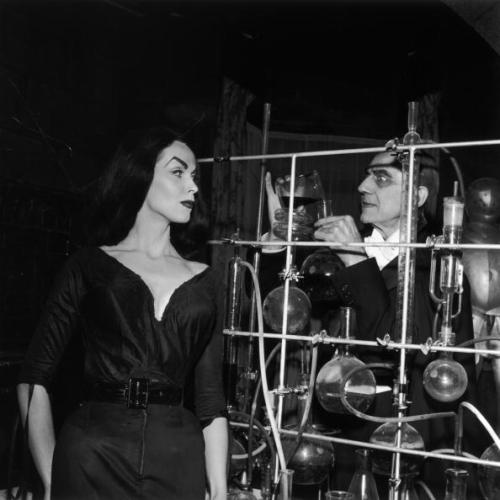 theniftyfifties:  Vampira (Maila Nurmi) and Bela Lugosi