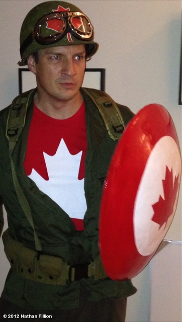 iheartchaos:  Cosplay of the day: Nathan Fillion as Captain Canada Yes, this was his Halloween costume this year. Kick ass, eh?