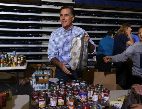 "Romney busted for faking hurricane relief event:  the night before the event, campaign aides went to a local Wal-Mart and spent $5,000 on granola bars, canned food, and diapers to put on display while they waited for donations to come in, according to one staffer. ""You need a donation to get in line!"" Empty-handed supporters pled for entrance, with one woman asking, ""What if we dropped off our donations up front?"" The volunteer gestured toward a pile of groceries conveniently stacked near the candidate. ""Just grab something,"" he said. Two teenage boys retrieved a jar of peanut butter each, and got in line. When it was their turn, they handed their ""donations"" to Romney.  Full ridic, here…"