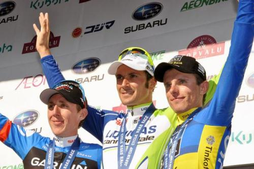 The 2012 Japan Cup podium (L-r): Dan Martin, Ivan Basso and Rafal Majka. Photo: © Bettini (via Japan Cup 2012: The 2012 Japan Cup Podium (L-r): Dan Martin, Ivan Basso And…, Photos | Cyclingnews.com)