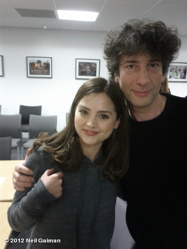 neil-gaiman:  After the Doctor Who read through. Me and Jenna. Photo by Matt Smith. View more Neil Gaiman on WhoSay