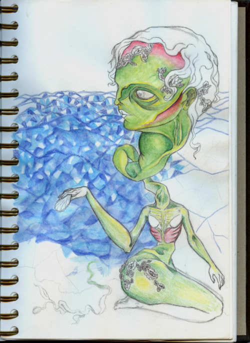 "Makayla Armijo ""The Birth of Venus"" interpretation, sketch book progress    - beauty beheld in my eyes can be called grotesque."