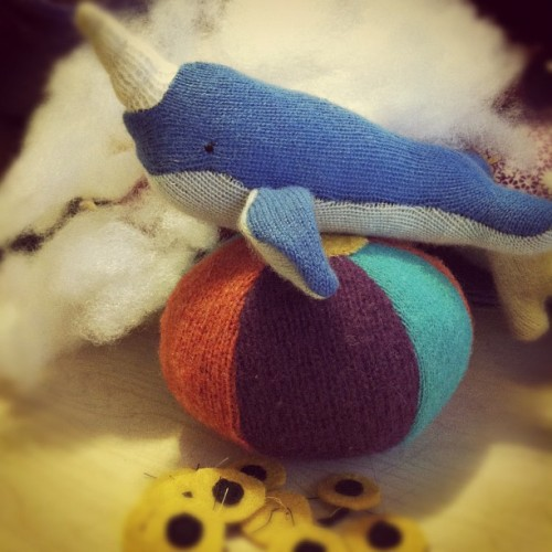 Freshly-stuffed narwhal baby (at sweatertoys headquarters)