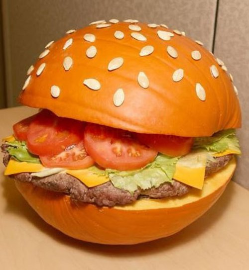 Delicious Looking Pumpkin Burger It's a mouthful.