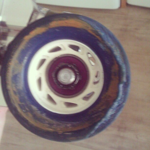Uh..I think its time for new wheels. Any suggestions??  #RollerDerby #rollergirl #derbyproblems #wheels #sports #suggestions #derbygear #notagain
