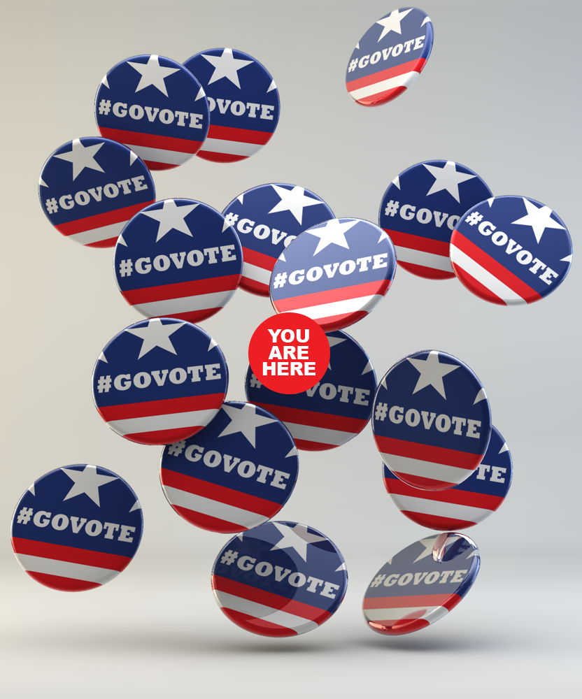 govotenov6:  Buttons! Tom Rudman for #govote. visit rockthevote.com to find your polling station and if you're eligible for early voting.  LOVE (but it should be an animated GIF…)