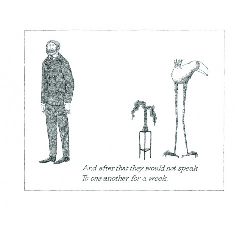 "If today's piece on Edward Gorey left you wanting more, check out our earlier review of Floating Worlds: The Letters of Edward Gorey and Peter F. Neumeyer. An excerpt:  Theirs was a friendship of almost telepathic rapport and, atypically for men of that era, emotional candor, both about themselves and their friendship. Of the two men, Gorey emerges as the more avid correspondent, and the more confessional — a startlingly out-of-character turn, given the solitary artist's notorious evasiveness in interviews and disinclination to answer mail or, for that matter, return calls. In Elephant House, a book of photographs of Gorey's home, the photographer Kevin McDermott recalls ""boxes of opened and unopened mail, much of it from fans,"" surrounding Gorey's sofa. Typically, Gorey replied to such letters, if he replied at all, with a postcard of his own design. Featuring a Gorey cat dozing on top of a mound of correspondence, it informed the recipient, ""You've written me to no avail, because I never read my mail."" The novelist and critic Alexander Theroux notes, in his memoir of their friendship, The Strange Case of Edward Gorey, that the artist's ""doors lacked knobs, and I am convinced they were intentionally left that way."" When the telephone rang, Gorey was often heard to shout, ""I am not here.""  Click here to read more."