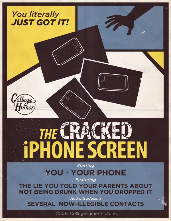 wired:  imwithkanye:  The Cracked iPhone Screen | Real Life Horror Movie Posters   OOOOH THE HUMANITYYYYY  Noooooo