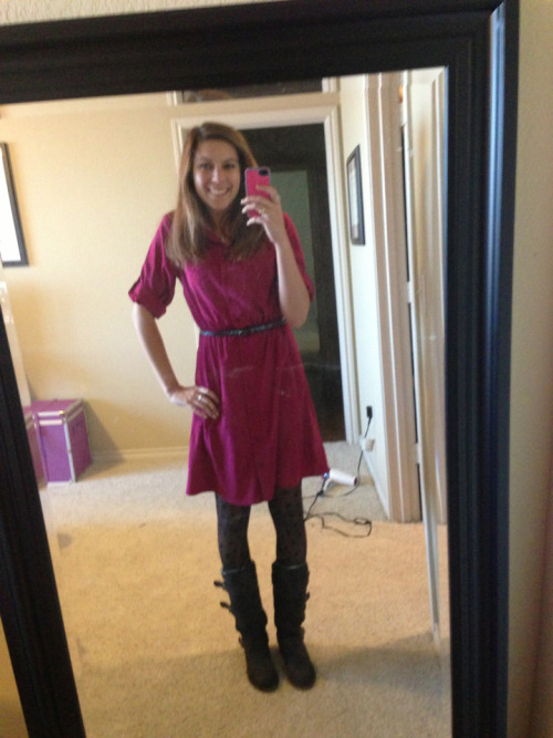 With this fall weather I'm all for dresses and boots. A simple dress can be played up with fun tights and a cute skinny belt.