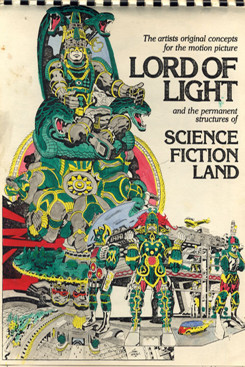 scifilandmovie:  The original cover of the LORD OF LIGHT/Science Fiction Land pitch book by Jack Kirby. The CIA used these designs and changed the name to ARGO. All of this work is featured in our forthcoming documentary, SCIENCE FICTION LAND. As part of our Kickstarter rewards, we are offering a replica of this book, with 13 designs.
