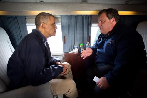 apsies:  On Marine One, President Obama and Governor Christie survey the damage caused by Hurricane Sandy along New Jersey coast, Oct. 31, 2012.  This camaraderie won't last, but it's great to see, eh?