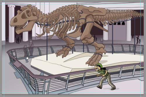 tyrantisterror:  itswalky:  This might be done.  I really love how the T.rex skeleton in this pic is very clearly modeled after Sue from the Chicago Field Museum.  She's the best T.rex skeleton.  Yup, it's definitely Sue!  The Natural History Museum in Chicago would be Dina's closest Museum-With-Respectable-Dinosaur-Content.  Dina's parents always have trouble prying her away from Sue. ALSO: AVAILABLE IN THE STORE NOW