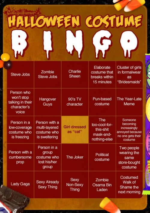 Halloween Costume Bingo Let the games begin!