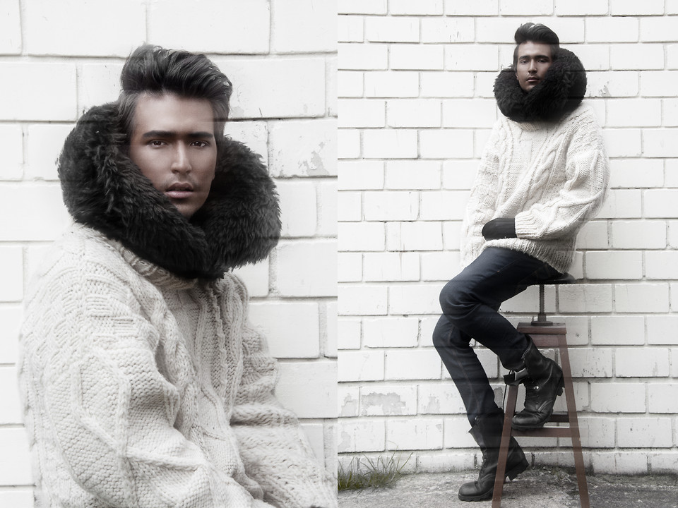 Eskimo Boy. (by Andres Espinosa)Hello Everyone, I was in a rush and I did not have anything prepare for halloween, so I improvise and this is what I got: A Eskimo Boy.  A lot of dark foundation a huge sweater and some faux fur, what do u think? Should I tan more often or non at alll?  Love.  Andrés.