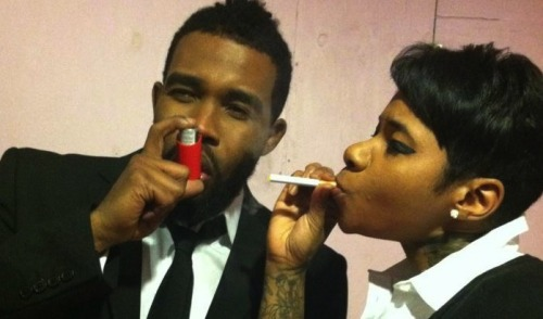 Visuals: Pharoahe Monch x Jean Grae   I found this pic to be funny since I too am an asthma sufferer….funny thing is, alot of people who have asthma can tolerate smoke better than people who DON'T smoke. Also, some people who have asthma are the most passionate of smokers; ask DMX…..it does feel very weird being a smoker who has asthma, almost sinful although you do know your limits. Unhealthy indeed; but I speak on behalf of the occasional smokers with asthma when I say that we do know our limits.