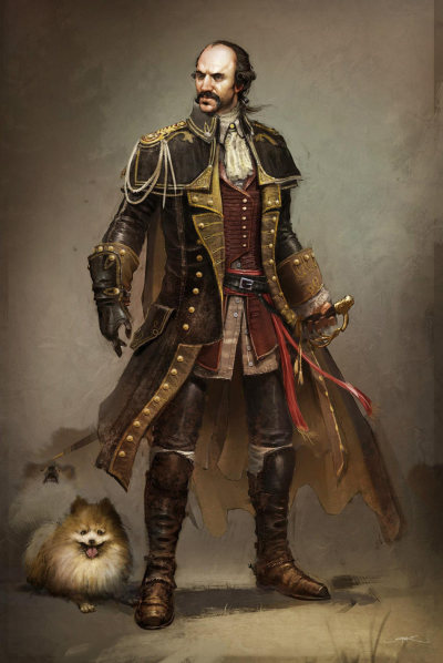 Concept art for General Charles Lee in Assassin's Creed 3. Let's all take a moment to appreciate the fact that they added his Pomeranians.