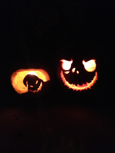 My first ever pumpkins! Only took 20 years to finally decide to carve a one. See Kass I have a little artistic side, well sorta.