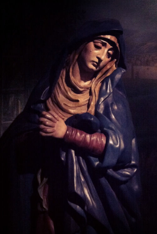 The statue of Mary below the cross in the Brompton Oratory in LondonThe statue is part of the Sevillian Calvary group that was recently placed in the church.