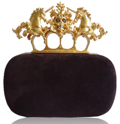 Alexander McQueen has produced this Unicorn Knuckle Duster Clutch, very vintage come punk! Sworovski crystal incrusted and perfect for those wanting a hidden 'don't mess with me' edge to their up market outfit. This and more Alexander McQueen designs are available from Miss Louise in Collins Street, Melbourne. For further information visit misslouise.com.au
