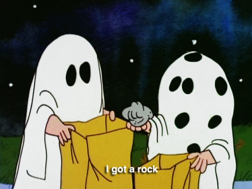 It takes a real jerk to give a kid a rock for Halloween. Poor Charlie Brown.
