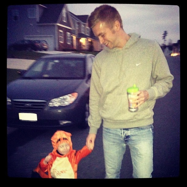 Trick-or-treating with my little man #photos #carter #gay #uncle #guncle #halloween #2012 #tigger #costume #boo photo cred to @ktkruk