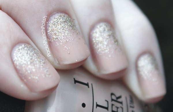 Ohmygosh, I love these so much. (via Matte, Nude, Glitter Gradient | Packapunchpolish)
