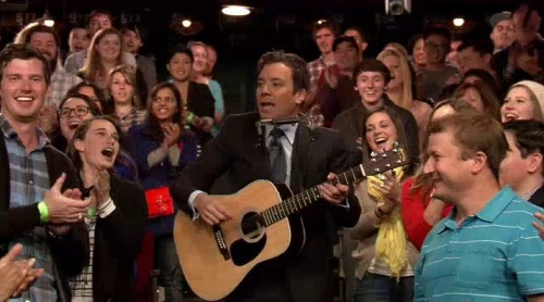 "Check out Jimmy Fallon singing ""Trick or Treat, Smell My Feet"" in the style of Bob Dylan in this sneak peek of tonight's Halloween Late Night and be sure to sing it when you're going door to door begging for candy despite the fact you're way too old to be trick-or-treating and face it, ""Sexy Dolphin"" is not a good costume despite your many protestations. Happy Halloween!"