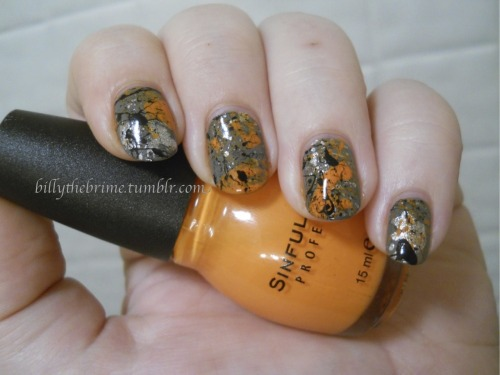 And the final mani of the day. Splatter time, pumpkin remix. I was tempted to repaint my ring finger orange and then take pieces of Icing's Black Shredded to create a pumpkin face. Obviously I didn't do that since I'm too lazy. I think adding a metallic polish is going to become my thing. I really love the added pop it gives to the look. Colors Used: Sinful Colors- Jungle Trail, Clementine, Black On Black L.A. Colors Color Craze- Live