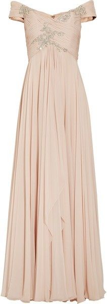 Marchesa off the shoulder embellished silk and chiffon gown in blush pink how pretty!