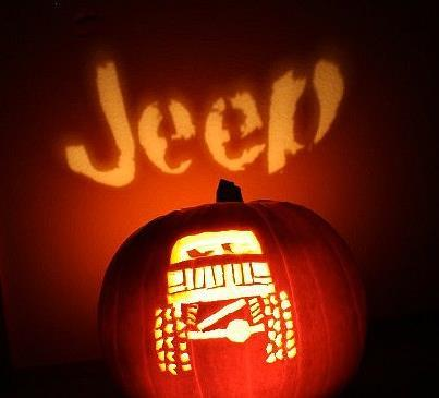 Check this Jeep punkin out! How cool is it that it shines the word jeep on the wall behind it???? www.eastcoastjeeps.com We sell Jeep and offroad accessories and hard parts.