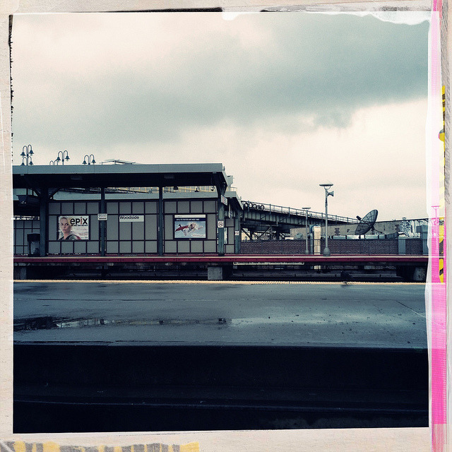 Woodside LIRR Platform. Day after Sandy. on Flickr.Yesterday afternoon, the LIRR station (and 7 platform on the upper level) remains empty as mass transit remained suspended. I did hear some train activity - gathering that those were maintenance crews assessing damage, but I didn't see a thing.