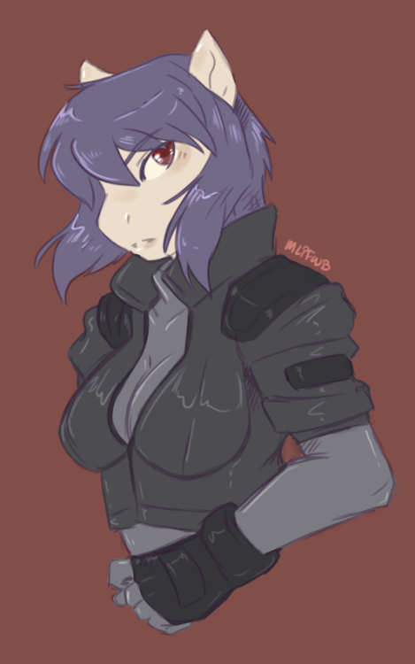 mlpfwb:  Doodle Commission - SFW pony interpretation of Major Kusanagi from GITS
