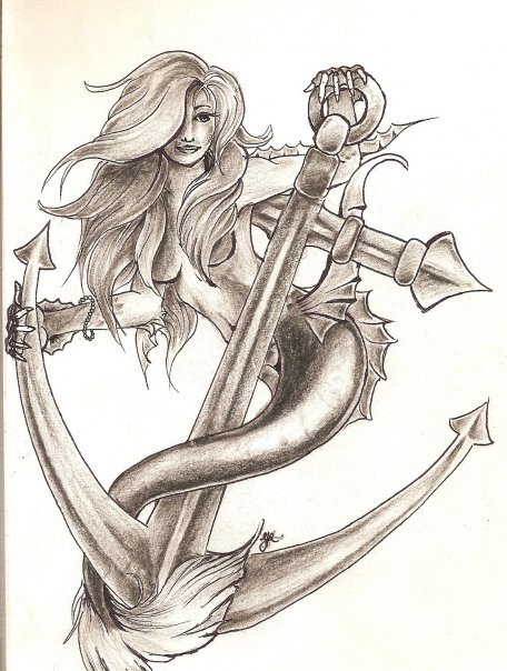 sailors amp mermaids � mermaid with anchor � � drawing by
