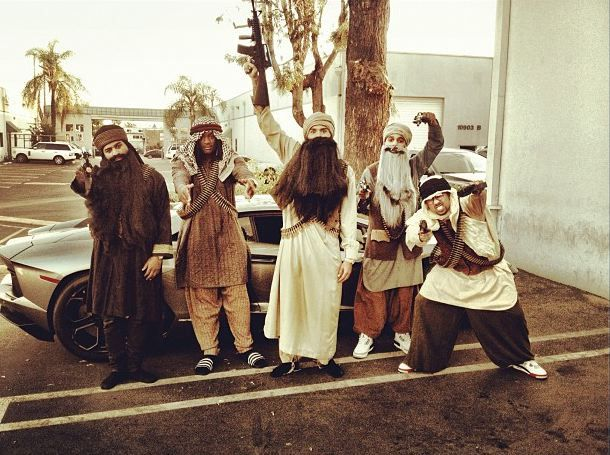 Chris Brown and his crew dressed as Arab terrorist stereotypes for Halloween. Anyone else get the feeling that he's not here to make friends? [Instagram via ONTD]