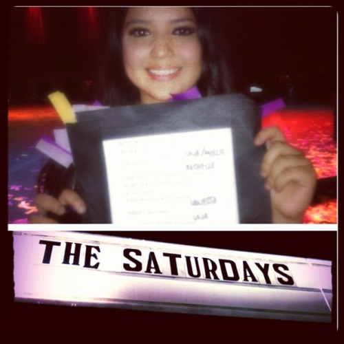 "THE SATS AT THE ROXY 3 hours waiting for them to come out and totally worth it! They were literally right in front of me. I was so nervous that I was shaking and couldn't smile completely (pretty sure the camera captured THAT). They were absolutely beautiful and looked like dolls! Vanessa is sooo beautiful, her eyes are soo pretty. Rochelle was gorgeous and her outfit was the best! Mollie was so fit and sweet, her hair and smile! Una's eyes and dress color were pretty! Mollie looked at me, smiled, and shook my hand and I was just about ready to die and then Rochelle does it as well! As Vanessa sang she looked right at me and smiled a big smile and we just smile for what seemed like forever! haha I didn't know what to do so I just smiled even bigger and one of the girls I just met looked at me and we laughed at my ridiculousness (and of course the fact that she looked at me). I was too embarrassed to shake her hand unfortunately. The moment they came on stage, there was a blast of different smells, like their perfumes and stuff. They looked absolutely perfect and my mom couldn't help taking pictures of their outfits and shoes (of course she would). I'm pretty sure my mom freaked Vanessa out because my mom was staring at her/admiring her and Nessi looked down to smile at her, but then looking at my mom's slightly creepy look at her, she nervously turned away haha The best part was in the end when they performed ""All Fired Up"" and the confetti went off. I guess they didn't plan that bit b/c they jumped and screamed when they went off. It was hysterical and I couldn't stop laughing. They looked way prettier in person, really different. They're actually VERY skinny/thin in comparison to what they look like on camera. They're GORGEOUS! Love them so much. It was sad that Frankie wasn't there but it's understandable. HAPPY BIRTHDAY VANESSA! P.S. I couldn't help taking the set list on the floor, which is what you see on the picture ;D"
