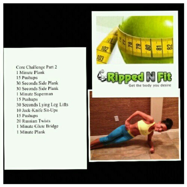 Try the core challenge part 2 For the full article with a larger picture go here: http://www.rippednfit.com/abs-training/core-challenge-pt-2/