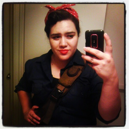 Rosie the Riveter is very.tired and her night is far from over. #wecandoit #Halloween #love this #costume #vintage