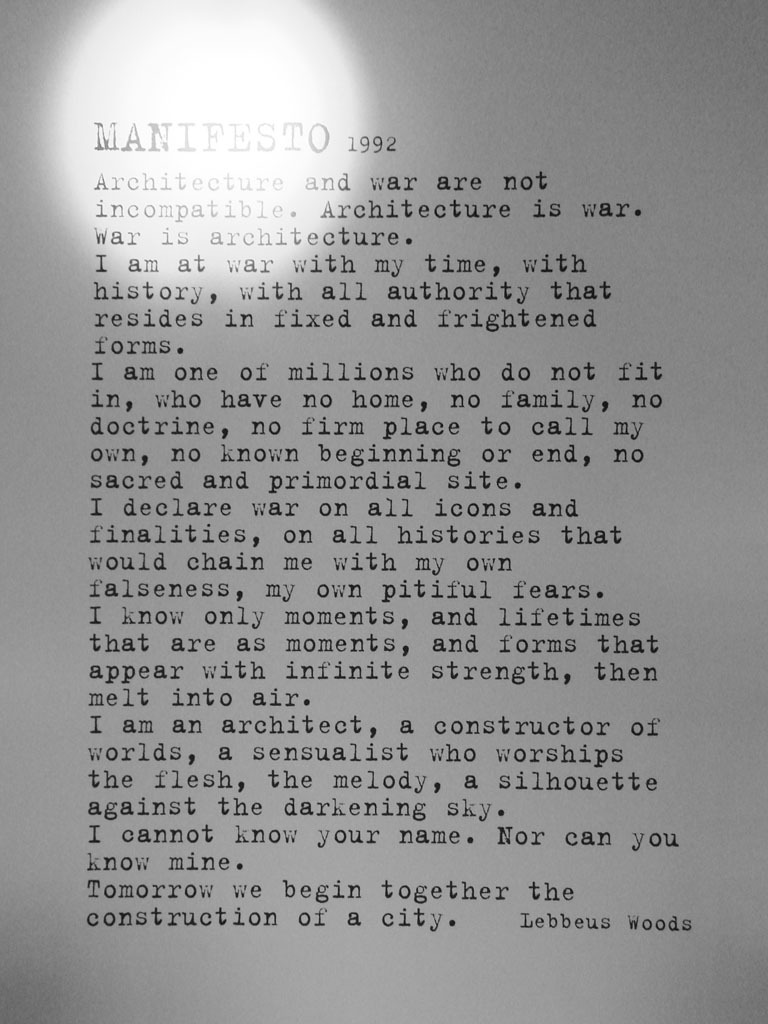 Manifiesto from a diefied architect by Lebbeus Woods via Harpreet-Khara.