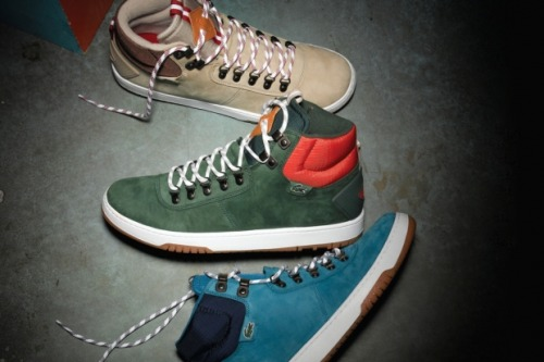 Lacoste L!VE 2012 Holiday Footwear Collection French apparel label Lacoste provides a preliminary look at its upcoming Lacoste L!VE footwear releases as a part of its collection for Holiday 2012. Featuring the seasonal boot-inspired Auber, the '80s basketball high-top Berrick, and more, the releases couple premium materials like full-grain leather, rich nubuck and ripstop nylon with the likes of vulcanized rubber soles, metal D-ring grommets and rugged rope laces. Complete with the brand's iconic green crocodile logo, the latest Lacoste L!VE footwear designs will soon be available at select retailers.