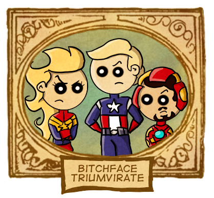 Happy birthday to me, Here's Carol, Steve and Tony. It's Bitchface triumviraaaaate… That's bitchface times three!