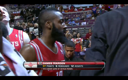 nbaoffseason:  James Harden's debut as a Rocket: 37 points, 6 rebounds, 12 assists, 4 steals, and 1 block while shooting over 50% from the field.  If the Oklahoma City Thunder were The Misfits, then James Harden is now entering his Samhain period (sorry had to throw a last minute Halloween reference somehow but the comparison kinda fits).