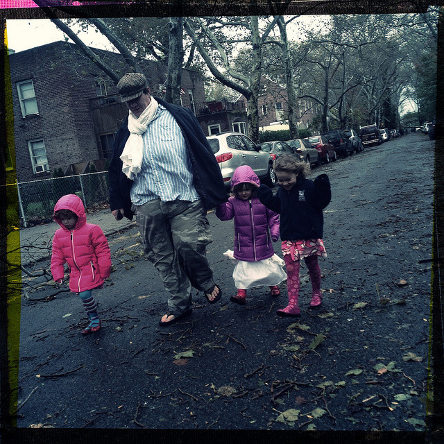 walking through sunnyside gardens. on Flickr.Families were getting outside and walking around the neighborhood the day after the storm. I seriously had a bout of cabin fever, and while it was cool hanging out with my roommates, it was comforting to see other people out and about.